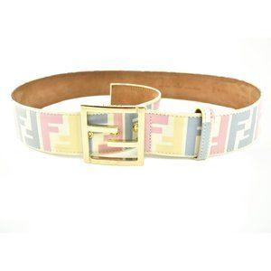 "FENDI: White, Patent Leather & Pastel ""FF"" Belt mv"